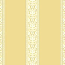 Yellow/White/Silver Damask Wallcovering by York