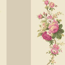 Light Grey/Pale Grey/Fuchsia Floral Wallcovering by York