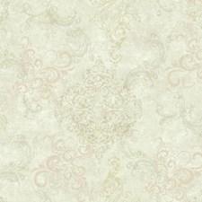 Cream/Beige/Pinkish Beige Damask Wallcovering by York