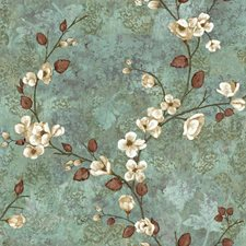 Teal/Dark Brown/White Floral Wallcovering by York