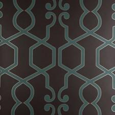 Teal Geometric Wallcovering by Clarke & Clarke