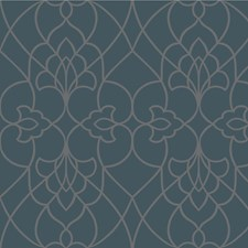 Blue/Beige Lattice Wallcovering by Kravet Wallpaper