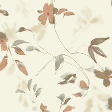 Ivory/Orange/Beige Botanical Wallcovering by Kravet Wallpaper