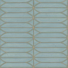 Blue/Gold Geometric Wallcovering by Kravet Wallpaper