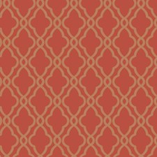 Orange/Metallic Gold Geometrics Wallcovering by York