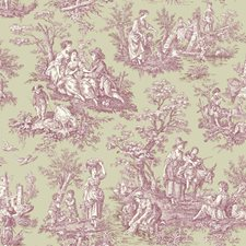 Medium Taupe/Cranberry/Cream Toile Wallcovering by York