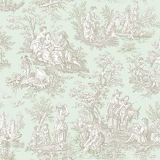 Sea Foam Green/Taupe/Cream Toile Wallcovering by York