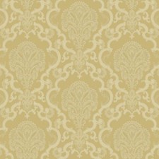 Metallic Gold/Beige/White Damask Wallcovering by York
