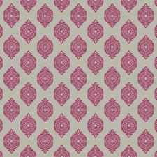 Hot Pink/Silver Satin Damask Wallcovering by York