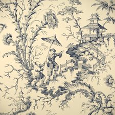 Toile Blue Hand Printed Wallcovering by Scalamandre Wallpaper