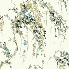White/Teal/Grey Floral Wallcovering by York