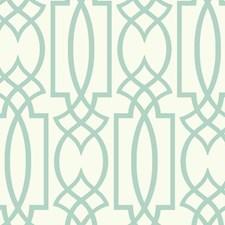 White/Aquamarine Lattice Wallcovering by York