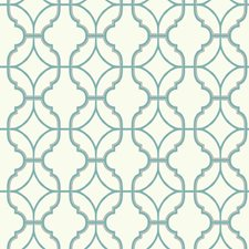White/Teal/Silver Trellis Wallcovering by York