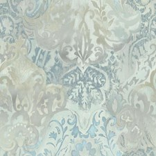 White/Blues/Grey Damask Wallcovering by York
